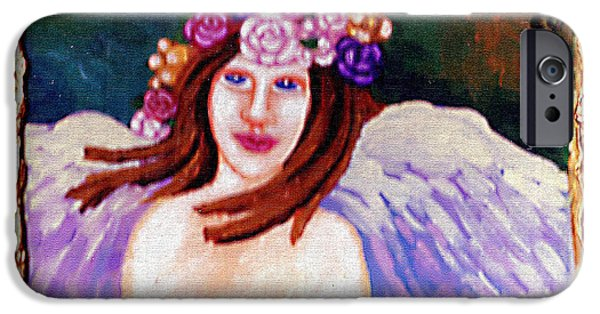 Wreath Paintings iPhone Cases - Sweet Angel iPhone Case by Genevieve Esson