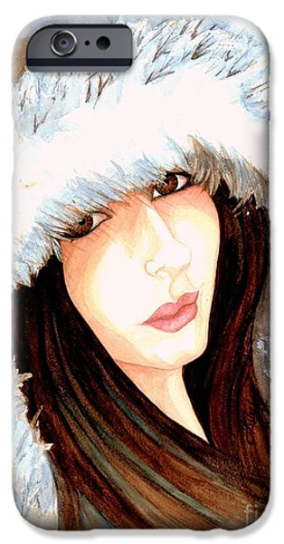 Snow iPhone Cases - Brown eyed girl iPhone Case by Janine Riley