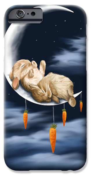 Digital Paintings iPhone Cases - Sweet dreams iPhone Case by Veronica Minozzi