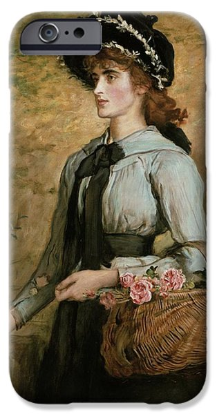 Basket iPhone Cases - Sweet Emma Morland iPhone Case by Sir John Everett Millais