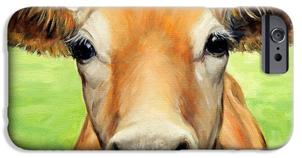 Cow iPhone Cases - Sweet Jersey Cow in Green Grass iPhone Case by Dottie Dracos