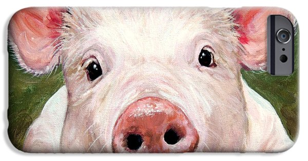 Piglets Paintings iPhone Cases - Sweet Little Piglet on Green iPhone Case by Dottie Dracos