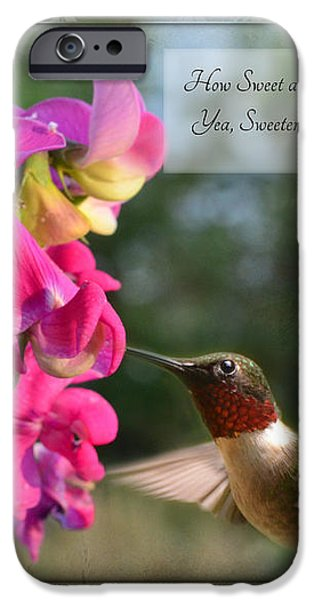 Sweet Pea Hummingbird IV with verse iPhone Case by Debbie Portwood