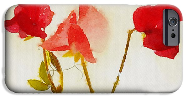 Sweet Digital iPhone Cases - Sweet Pea Watercolour iPhone Case by John Edwards