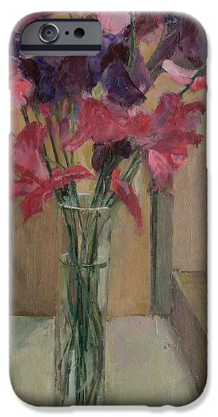 Floral Photographs iPhone Cases - Sweet Peas, 2008 Oil On Canvas iPhone Case by Pat Maclaurin