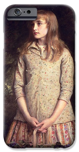 Basket iPhone Cases - Sweetest Eyes That Were Ever Seen..., 1881 Oil On Canvas iPhone Case by Sir John Everett Millais