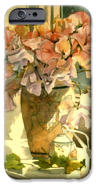 Indoor Still Life iPhone Cases - Sweetpea On The Windowsill iPhone Case by Julia Rowntree
