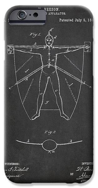 Swimming iPhone Cases - Swimming Apparatus Patent Drawing From 1881 iPhone Case by Aged Pixel