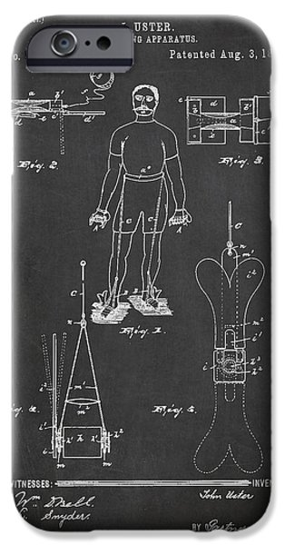 Swimming iPhone Cases - Swimming Apparatus Patent Drawing From 1897 iPhone Case by Aged Pixel