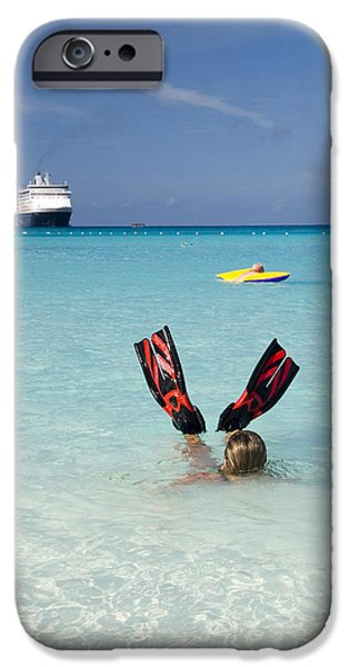 Half Moon Cay iPhone Cases - Swimming at a Caribbean Beach iPhone Case by David Smith