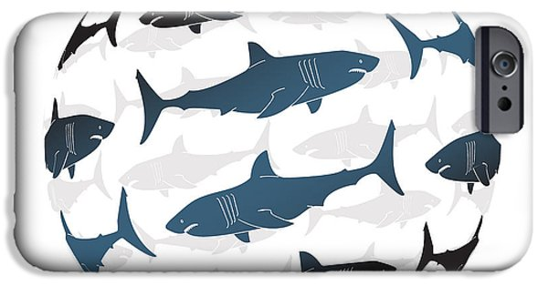 Shark Paintings iPhone Cases - Swimming Blue Sharks Around The Globe iPhone Case by Amy Kirkpatrick