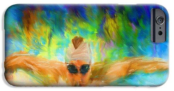 Sports Digital Art iPhone Cases - Swimming Fast iPhone Case by Lourry Legarde