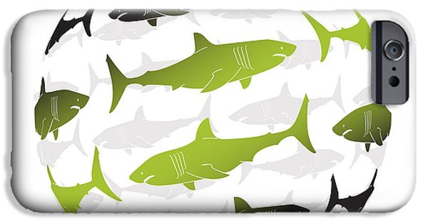 Shark Paintings iPhone Cases - Swimming Green Sharks Around the Globe iPhone Case by Amy Kirkpatrick