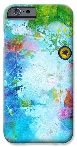 Artistic Fish Abstraction iPhone Cases - Swimming iPhone Case by Nancy Merkle