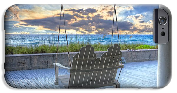 Sun Porch iPhone Cases - Swing at the Beach iPhone Case by Debra and Dave Vanderlaan