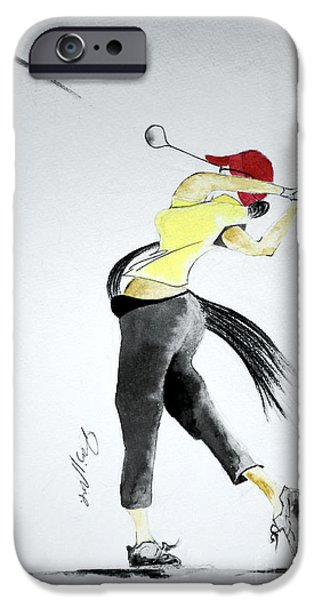 Us Open Drawings iPhone Cases - Swing for Hole One iPhone Case by Jalal Gilani