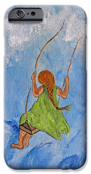 Angel Blues iPhone Cases - Swing High Into The Clouds - Painting iPhone Case by Ella Kaye Dickey