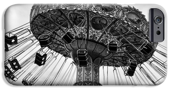 Monotone iPhone Cases - Swinging at Seaside Heights mono iPhone Case by John Rizzuto