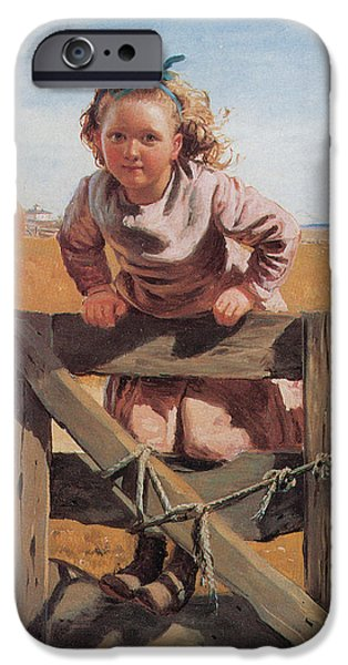 Little Girl iPhone Cases - Swinging on a Gate Detail iPhone Case by John Brown