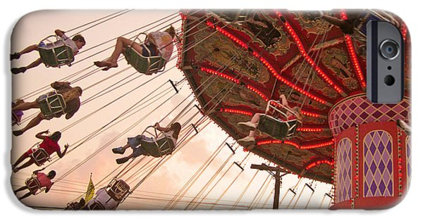 Amusements iPhone Cases - Swings at Kennywood Park iPhone Case by Carrie Zahniser