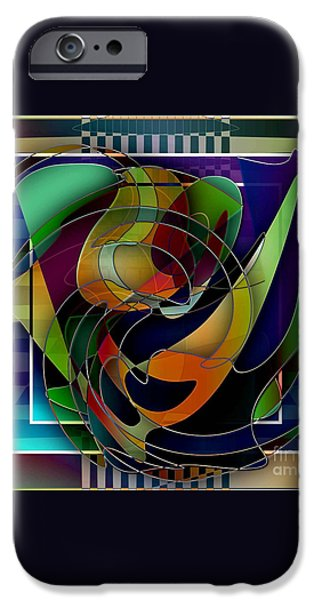 Abstract Digital Drawings iPhone Cases - Swirl iPhone Case by Iris Gelbart