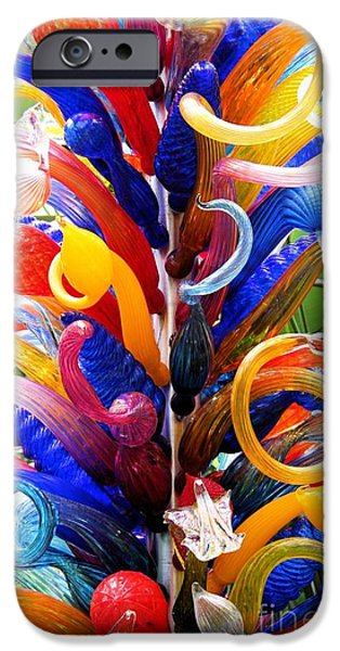 Modern Abstract Glass Art iPhone Cases - Spirals iPhone Case by The Art of Alice Terrill
