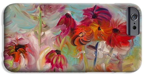 Abstracted Coneflowers Paintings iPhone Cases - Swirling flowers iPhone Case by Jim Tucker