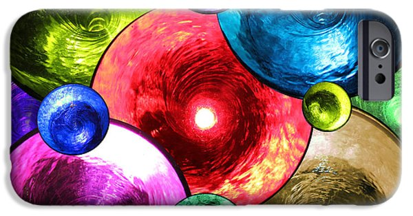 Red Abstract iPhone Cases - Swirling Fountains iPhone Case by Mariola Bitner