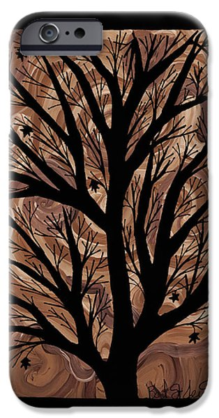 Earth Tones Drawings iPhone Cases - Swirling Sugar Maple iPhone Case by Barbara St Jean