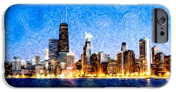Hancock Building iPhone Cases - Swirly Chicago at Night iPhone Case by Paul Velgos