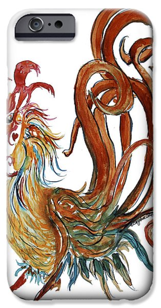 Flashy Paintings iPhone Cases - Swirly Heart Rooster iPhone Case by CheyAnne Sexton