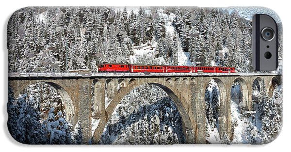 Swiss Mixed Media iPhone Cases - Swiss Bridge - Snow Painting iPhone Case by Mike Rampino