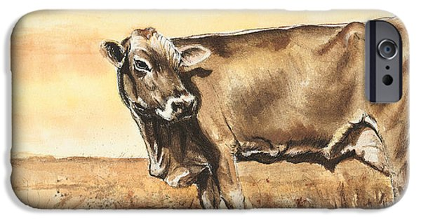 Swiss Mixed Media iPhone Cases - Swiss Brown Cow iPhone Case by Sara Cuthbert