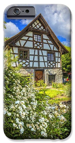 Swiss Chalet in the Garden iPhone Case by Debra and Dave Vanderlaan