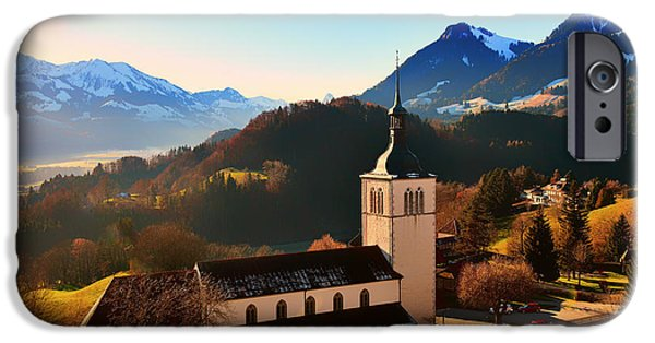Swiss Landscape iPhone Cases - Swiss Church Below Snow Covered Mountains iPhone Case by Alex Hu