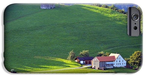 Swiss Landscape iPhone Cases - Swiss Farm House iPhone Case by Susanne Van Hulst
