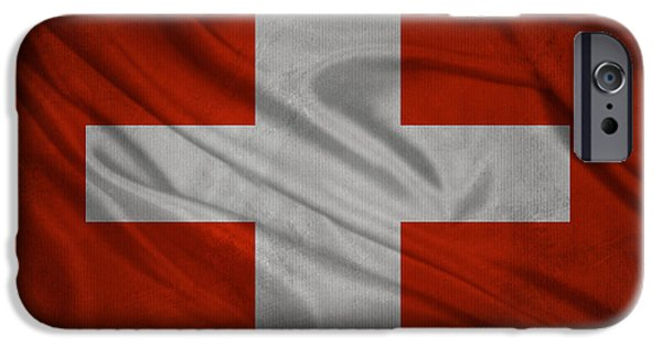 Swiss Mixed Media iPhone Cases - Swiss flag waving on aged canvas iPhone Case by Eti Reid