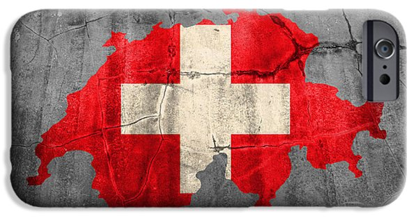 Swiss Mixed Media iPhone Cases - Switzerland Flag Country Outline Painted on Old Cracked Cement iPhone Case by Design Turnpike
