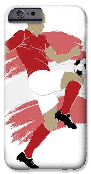 Switzerland iPhone Cases - Switzerland Soccer Player iPhone Case by Joe Hamilton