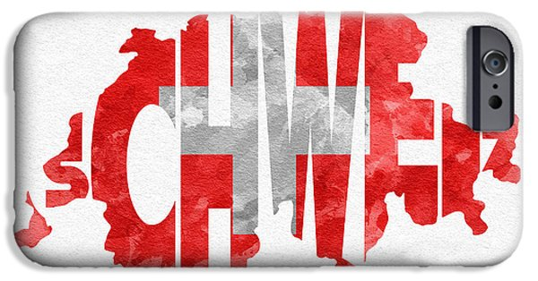 Original Watercolor iPhone Cases - Switzerland Typographic Map Flag iPhone Case by Ayse Deniz