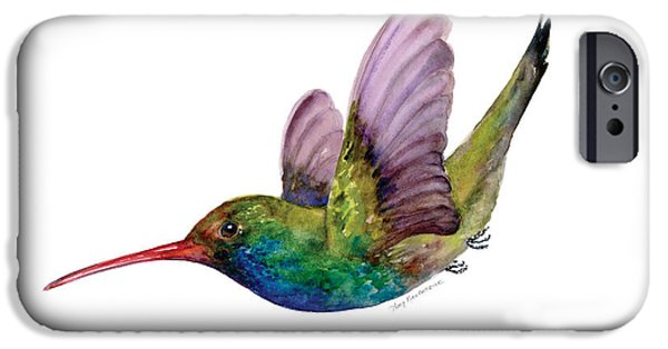 Flight iPhone Cases - Swooping Broad Billed Hummingbird iPhone Case by Amy Kirkpatrick