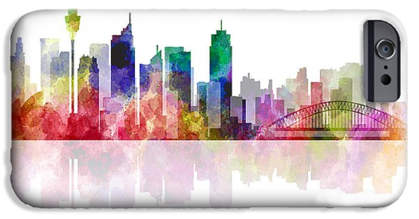 Koala Digital Art iPhone Cases - Sydney Australia Skyline 2 iPhone Case by Daniel Hagerman