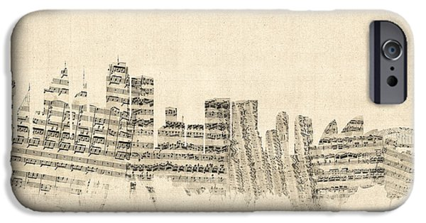Sheets iPhone Cases - Sydney Australia Skyline Sheet Music Cityscape iPhone Case by Michael Tompsett