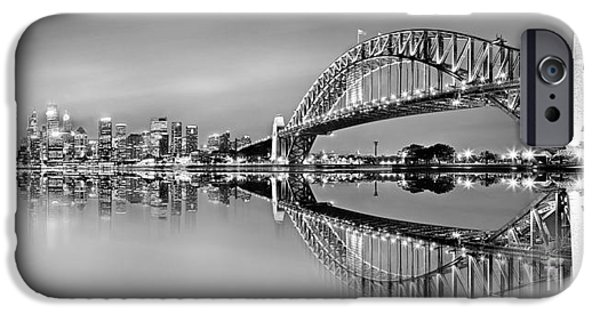 Business iPhone Cases - Sydney City Reflections - BW iPhone Case by Az Jackson