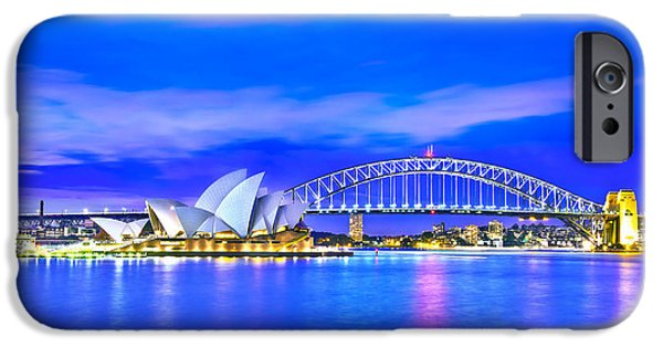 Business iPhone Cases - Sydney Harbour Blues iPhone Case by Az Jackson