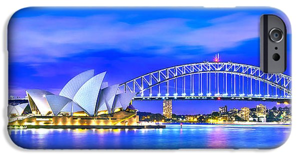 Business iPhone Cases - Sydney Harbour Blues Panorama iPhone Case by Az Jackson