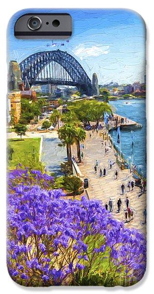 Jacaranda iPhone Cases - Sydney Harbour jacaranda iPhone Case by Sheila Smart