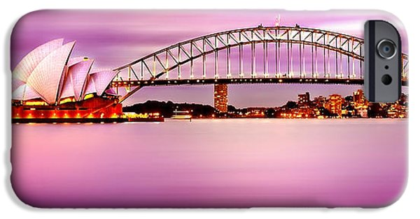 Business iPhone Cases - Sydney Harbour Pink Sunset iPhone Case by Az Jackson