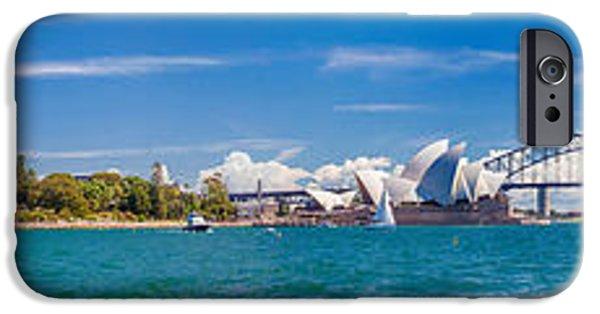 Business Photographs iPhone Cases - Sydney Harbour Skyline 1 iPhone Case by Az Jackson