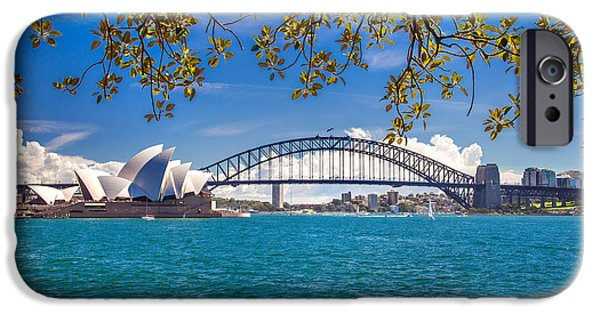 Business Photographs iPhone Cases - Sydney Harbour Skyline 2 iPhone Case by Az Jackson
